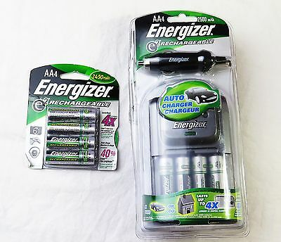8 Energizer 2450 mAh AA,Rechargeable Batteries + Auto Charger (New)