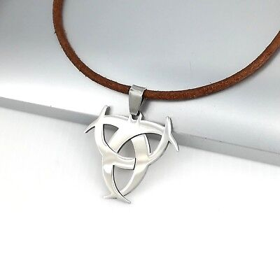 Silver Poison Biohazard Symbol Stainless Steel Pendant Brown Leather Necklace