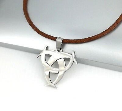 Silver Stainless Poison Biohazard Symbol Pendant Brown Leather Surfer Necklace