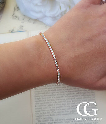 "Delicate Solid 9ct Rose Gold Tennis Bracelet 7.5"" GIFT BOXED"