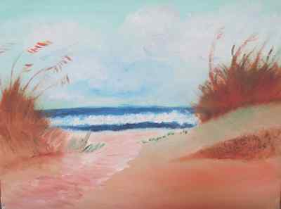 Original oil painting of sea and sand dunes.