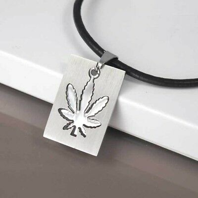 Silver Stainless Army Dog Tags Weed Marijuana Pendant 3mm Black Leather Necklace