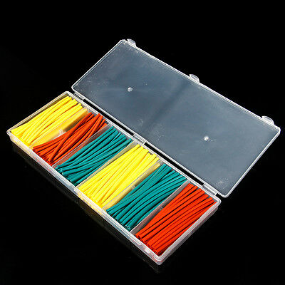 Wire Cable Sleeving 180Pcs 2:1 Heat Shrink Wrap Sleeves Tube 3 Colors W/ Case DT