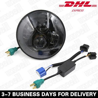 "7"" Motorcycle Projector LED Headlight H4 Hi/Lo For Harley Davidson Fatboy FLSTF"