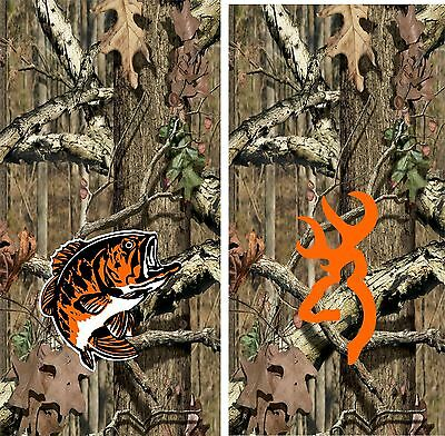 Camo Orange BASS and BUCK Cornhole Game Board 3M Vinyl Decal Set