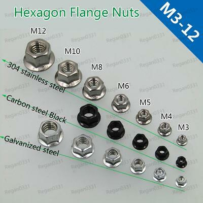 M3 M4 M5 M6 M8 M10 M12 Black / 304 Metric Hex Serrated Flange Nuts Hex Lock Nuts