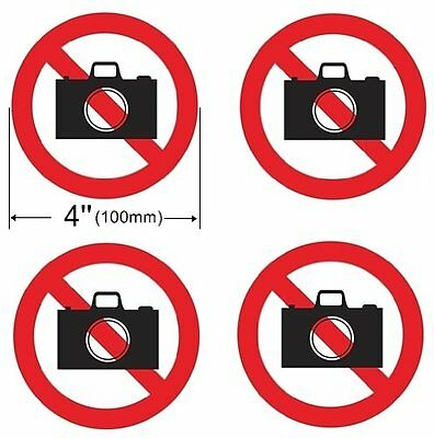 4 Pack NO PHOTO NO PICTURE NO CAMERA Window Door Wall 4'' Dia Sign Decal Sticker