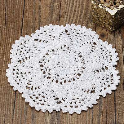 20cm White Pure Cotton Hand Crochet Floral Lace Doily Placemat Table Mat Dia.
