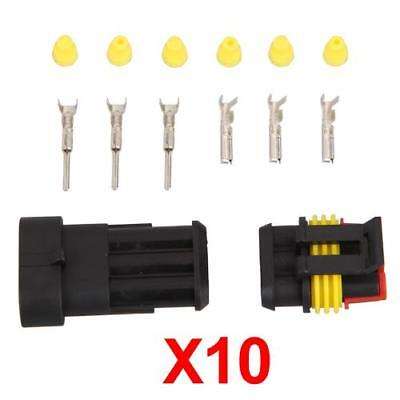 10x Sets 3-Pin Way Waterproof Electrical Wire Connector Plug Kit Insert Car Boat
