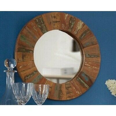 Looe 100% Reclaimed Wood Furniture Small Round Wall Mirror