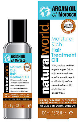 Natural World Argan Oil of Morocco Hair Treatment Oil 100ml