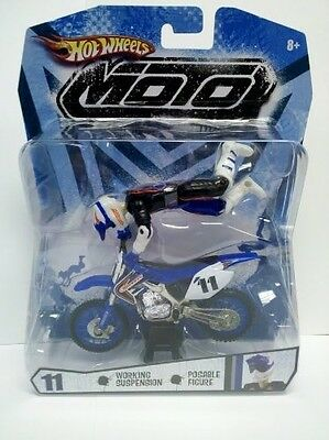 Hot Wheels Blue and Black Moto #11 (Motorcycle with Rider Action Figure). Best P