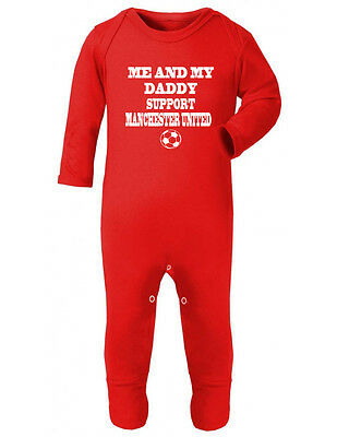 Manchester United Support babygrow onesie Rompersuit sleepsuit bodysuit Football