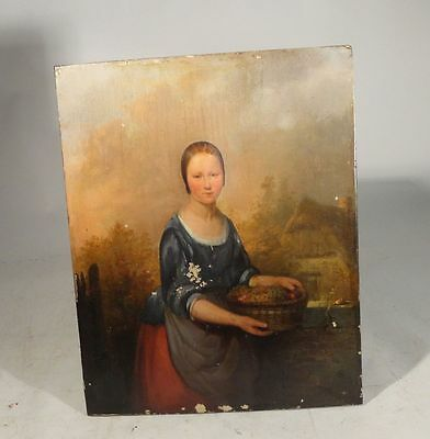 Antique European Dutch Italian Old Master Oil Painting on Panel Signed