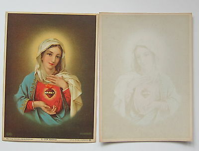 Sacred Heart of Mary - vintage religious chromolithograph print