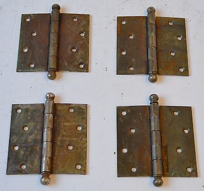"Set of 4 Antique 4 1/2"" x 4 1/2"" Hardware Brass & Iron Door Hinges Industrial"