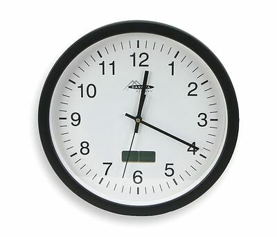"Quartz Round Wall Clock 13-3/4"" Black Case  White Face"