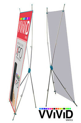 "Adjustable X Banner Stand Telescopic up to 31"" wide and 71"" tall Display Sign"
