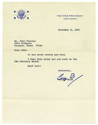 George Bush #41 Letter Signed as Vice President