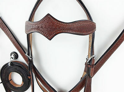 Plain western bridle and breastplate set