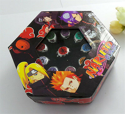 Hot Sale 10 Pcs Anime NARUTO Akatsuki Member's Ring Set with Box Cosplay Unisex