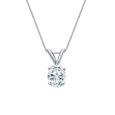 """1.50 Ct Oval Brilliant Solid 14k White Gold Solitaire Pendant 18"""" Necklace"""