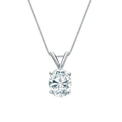 "3 Ct Oval Brilliant Cut Solid 14k White Gold Solitaire Pendant 18"" Necklace"