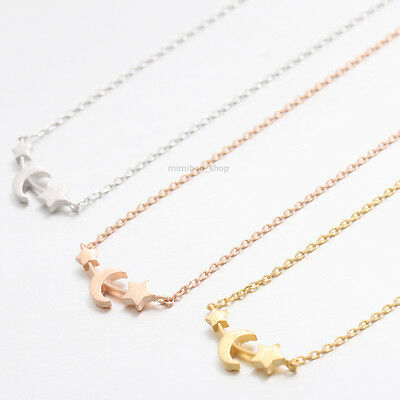 Dainty Small Double Star with Crescent Moon Sideways Pendant with Chain Necklace
