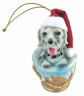 Dog in a Bucket Christmas Tree Ornament with Gold String Hangar.