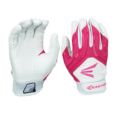 Easton HF3 Hyperskin Women's Fastpitch Batting Gloves - White/Pink - Large