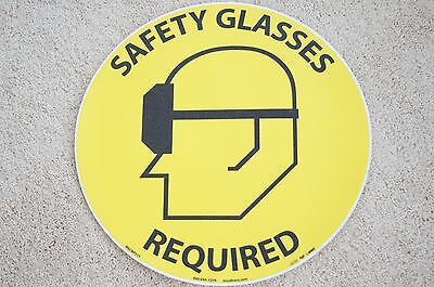 """""""Safety Glasses Required"""" Walk on Floor 17"""" Diameter Sign, Lot Of 3"""
