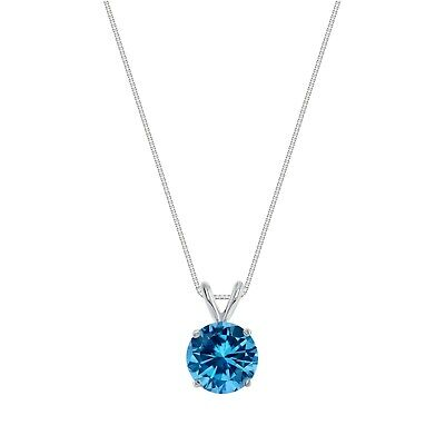 """2 Ct Round Cut Blue Solid 14k White Gold Solitaire Pendant 18"""" Necklace"""