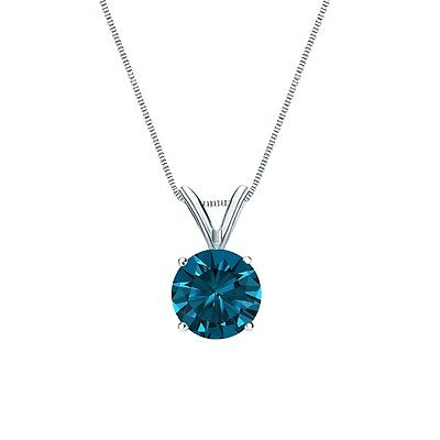 """2.25 Ct Round Cut Blue Solid 14k White Gold Solitaire Pendant 18"""" Necklace"""