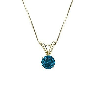 """1 Ct Round Cut Blue Solid 14k Yellow Gold Solitaire Pendant 18"""" Necklace"""