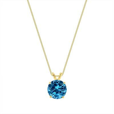 """3 Ct Round Cut Blue Solid 14k Yellow Gold Solitaire Pendant 18"""" Necklace"""