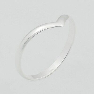 Silver ring stackable 925 sterling stack ring Pointed Arch size 8us 2mm wide