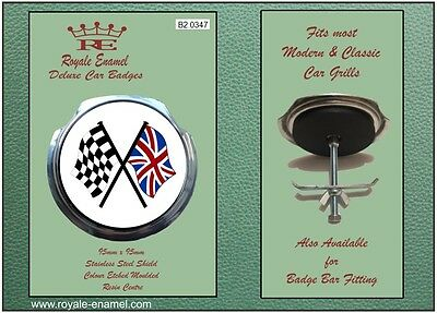 Royale Car Grill Badge + Fittings - CROSSED UNION JACK CHECKER FLAG - B2.0347
