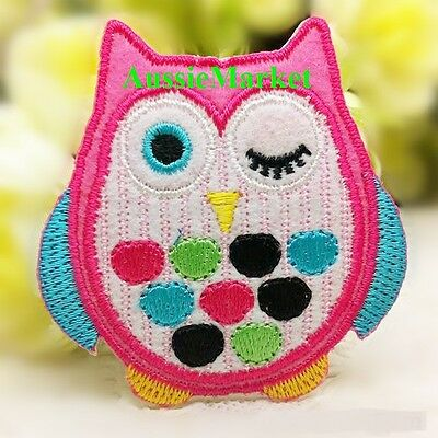 1 x owl patch patches child girls dress jeans shirt iron sew on bird embroidered