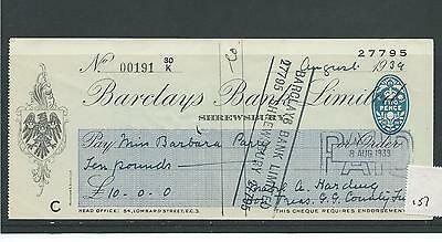 wbc. - CHEQUE - CH157 - USED -1940's - BARCLAYS BANK, SHREWSBURY
