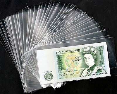 "Lot 100 Transparent & Clear Plastic Banknote Sleeves Size 3 ""  X  5.85 """