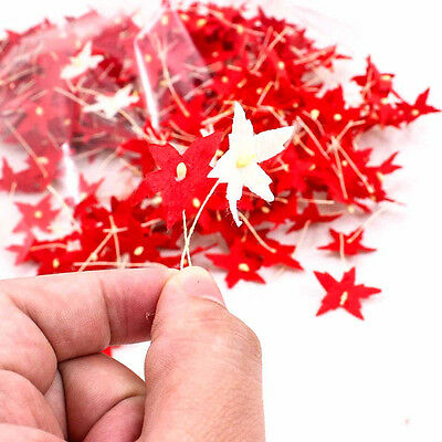 50PCS Mulberry Paper Red-White Flower Craft Artificial 25mm Scrapbook SPE A1530