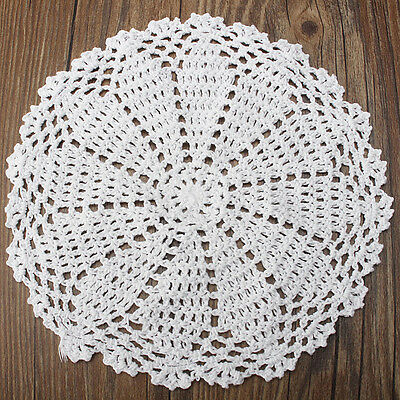20cm Cotton Yarn Hand Crochet Lace Doily Placemat Round 20CM White Table Cup