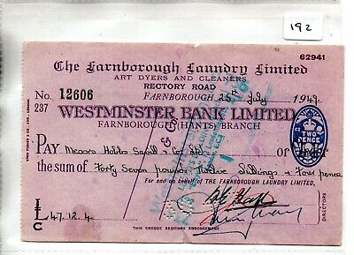 wbc. - CHEQUE - CH192 - USED -1940's - WESTMINSTER BANK, FARNBOROUGH, HANTS