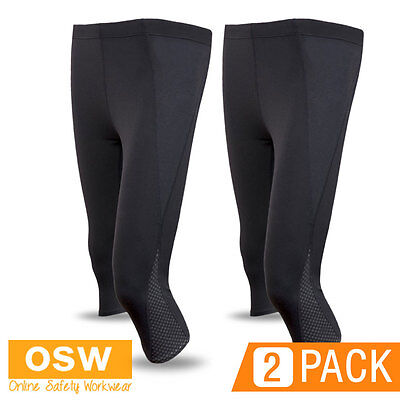 2 X Ladies Black Nylon/Spandex 3/4 Leggings - Sports/Gym/Excercise/Team/Yoga