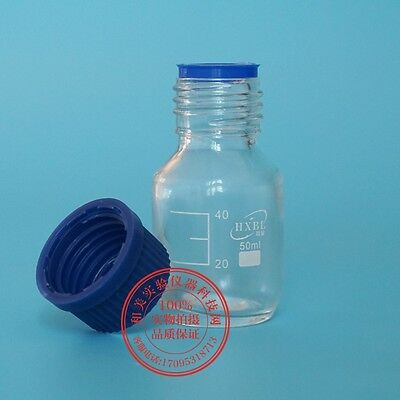 50mL Transparent Lab Glass Reagent bottle w cap autoclavable heavy wall M3311 QL