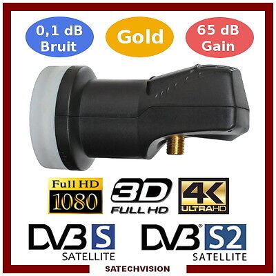 LNB Single Tête Universelle 0,1 dB Gain 65 dB Full HD 3D Ultra HD 4K Gold