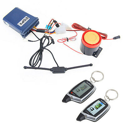 2 Way Motorbike Anti Theft Security Alarm System LCD Remote Control Engine Start