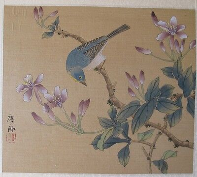 Antique Asian Chinese Blue Bird in Flowering Tree Watercolor Scroll Painting