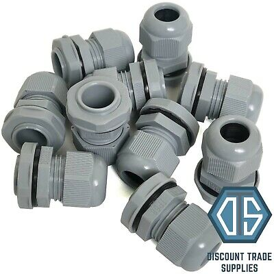10x 20mm Grey Waterproof IP68 Compression TRS Cable Stuffing Gland Locknut M20