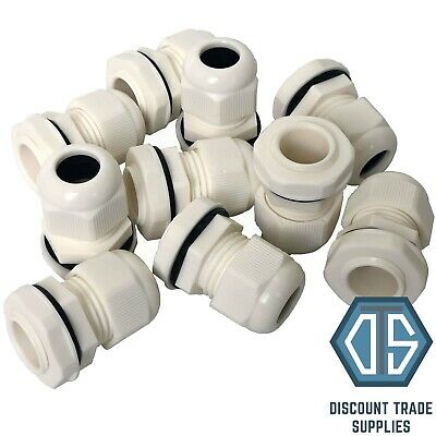 10x 20mm White Waterproof IP68 Compression TRS Cable Stuffing Gland Locknut M20